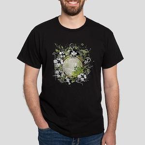 Green Flower Abstract Dark T-Shirt