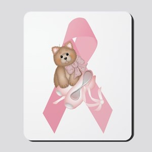 Breast Cancer Ribbon & Kitty Mousepad