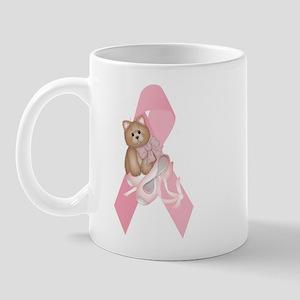 Breast Cancer Ribbon & Kitty Mug
