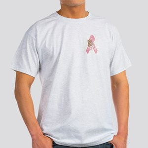 Breast Cancer Ribbon & Kitty Ash Grey T-Shirt
