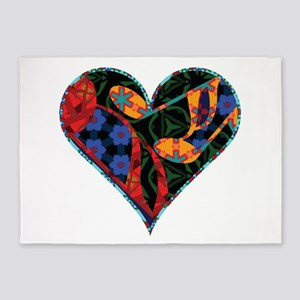 Music Note Patterned Heart 5'x7'Area Rug