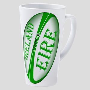 Irish Rugby Ball 17 Oz Latte Mug