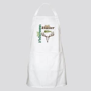 Half Fisherman. Half Hunter. BBQ Apron