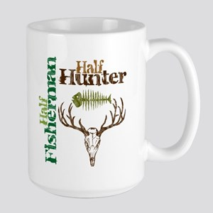 Half Fisherman. Half Hunter. Large Mug
