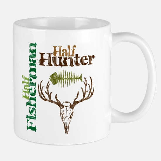 Half Fisherman. Half Hunter. Mug