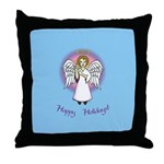 Holiday Angel Blue Throw Pillow