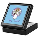 Holiday Angel Blue Keepsake Box