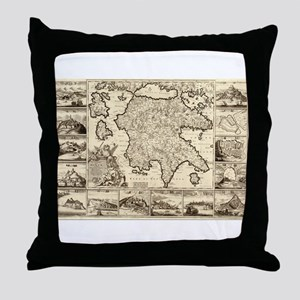 Ancient Greece Map Throw Pillow
