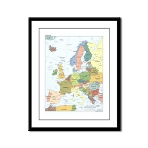 Europe Map Framed Panel Print
