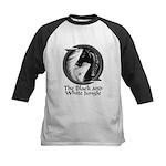 Black and White Jungle Kids Baseball Jersey