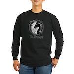 Black and White Jungle Long Sleeve Dark T-Shirt
