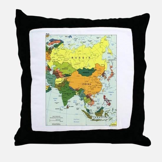 Asia Map Throw Pillow