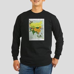Asia Map Long Sleeve Dark T-Shirt