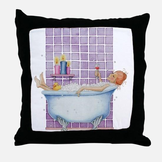 Bathtub Joy Throw Pillow