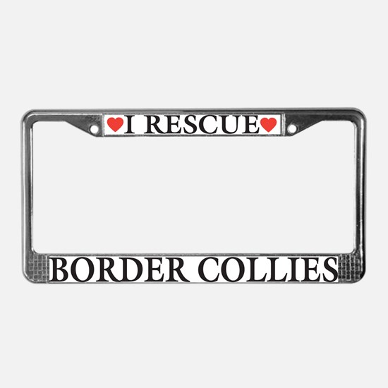 Border Collie Rescue License Plate Frame