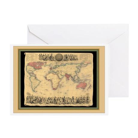 1850 British Empire Map Greeting Cards (Pk of 20)