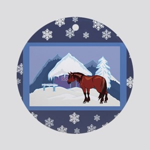 Snowflake Clydesdale Ornament (Round)