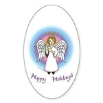 Holiday Angel Oval Sticker (10 pk)