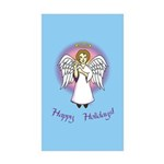 Holiday Angel Blue Rectangle Sticker 50 pk)