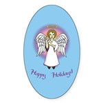 Holiday Angel Blue Oval Sticker