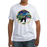 XmasMusic 2MC/Lab Pup (blk) Fitted T-Shirt