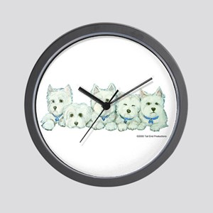Five Westies Wall Clock