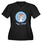 Holiday Angel Women's Plus Size V-Neck Dark T-Shir