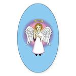 I-Love-You Angel Blue Oval Sticker (10 pk)