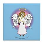 I-Love-You Angel Blue Tile Coaster
