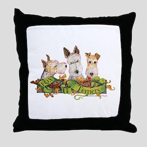 Fox Terrier Trio Throw Pillow