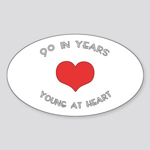 90 Young At Heart Birthday Oval Sticker