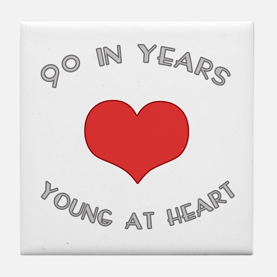 90 Young At Heart Birthday Tile Coaster