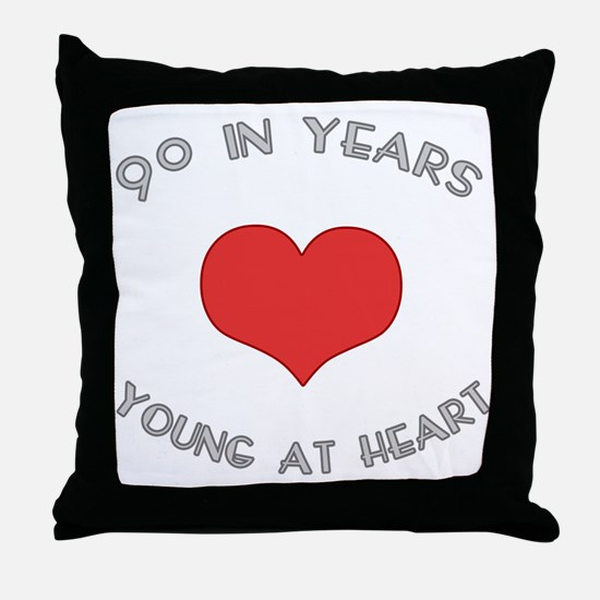 90 Young At Heart Birthday Throw Pillow