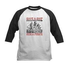 Save a Ship, Ride a Pirate Kids Baseball Jersey