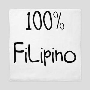 100% Filipino Very Funny Gift Idea Queen Duvet
