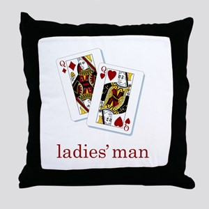 Ladies Man - Poker Throw Pillow