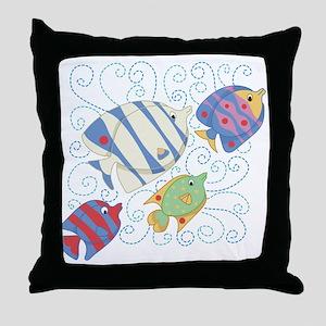 Fish School Throw Pillow