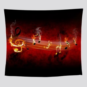 Hot Music Notes Wall Tapestry