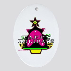 Tappy Holidays For Christmas Oval Ornament