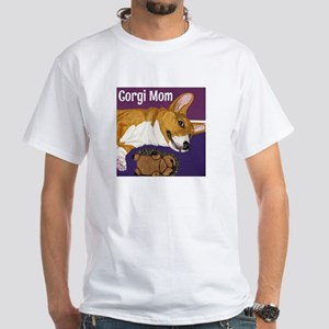 Corgi Mom White T-Shirt