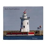 Harbor Beach Lighthouse Throw Blanket