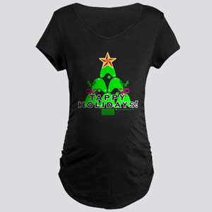 Tappy Holidays Christmas Tree Maternity Dark T-Shi