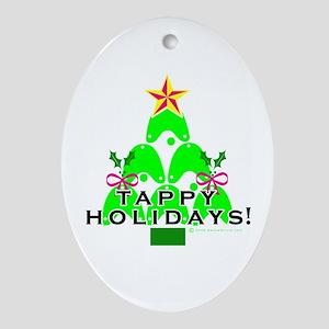 Tappy Holidays Christmas Tree Oval Ornament