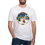 XmasMusic 3/Basenji Fitted T-Shirt