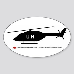 Black UN Helicopter Oval Sticker