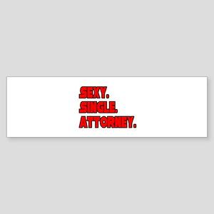 """""""Sexy. Single. Attorney."""" Bumper Sticker"""