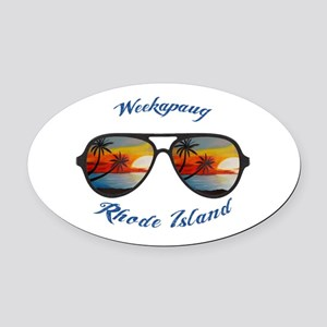 Rhode Island - Weekapaug Oval Car Magnet