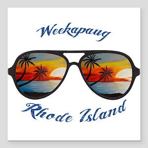 "Rhode Island - Weekapaug Square Car Magnet 3"" x 3"""