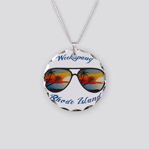 Rhode Island - Weekapaug Necklace Circle Charm