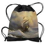 Stormy Frigate Painting Drawstring Bag